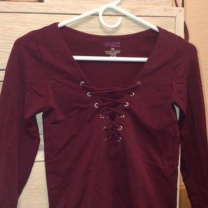Long Sleeve Nylon Burgundy Lace up Top
